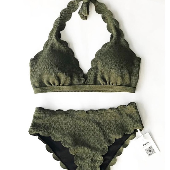 Buy Authentic offer discounts shop for luxury Olive Green Bikini Set NWT